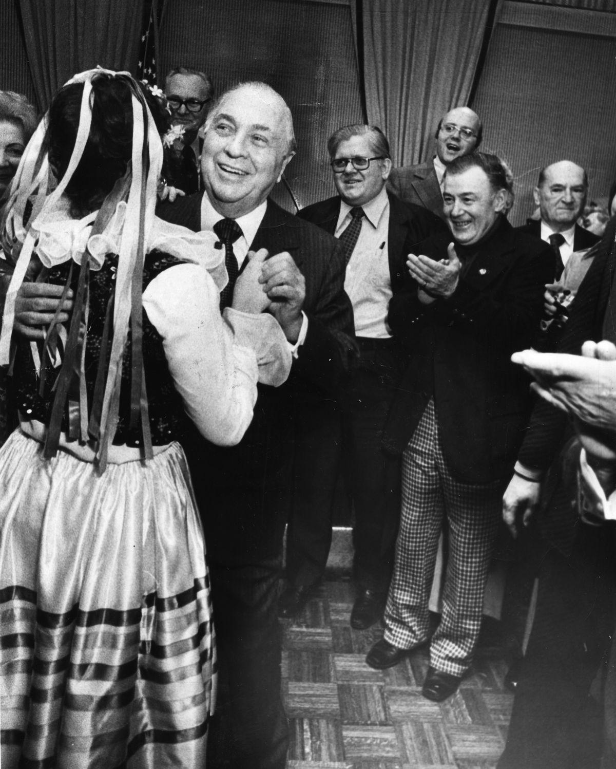Mayor Richard J. Daley hams it up with a polka dancerat a 1975 American Polish Democratic Organization party at 6800 N. Milwaukee. | Sun-Times photo by Jack Lenahan