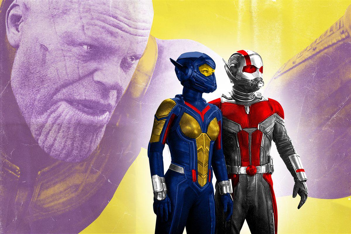 Thanos looming behind Ant-Man and the Wasp
