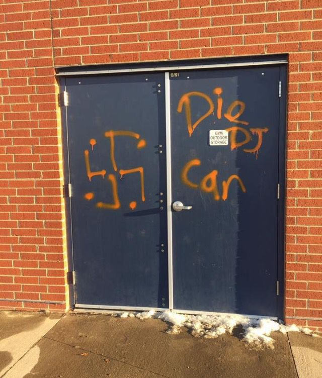 Some of the graffiti found at Isabella Bird Community School.