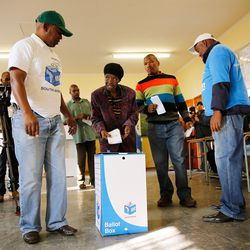 A woman votes South African General Election on May 7, 2014 in the Soweto Township in Johannesburg, South Africa.