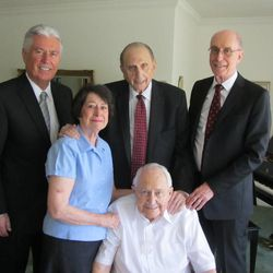 The First Presidency visits the home of Elder L. Tom Perry and Sister Barbara Perry on May 1, 2015. LDS Church President Thomas S. Monson, center, and his counselors in the First Presidency, President Dieter F. Uchtdorf, left, and President Henry B. Eyring, right, visited Elder Perry after he began treatment for thyroid cancer.
