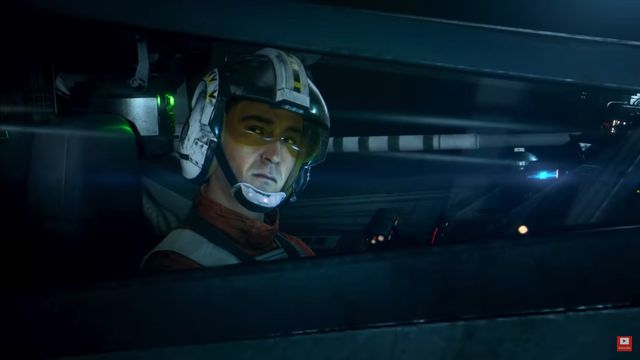 Wedge Antilles inside the cockpit of an X-Wing Fighter in Star Wars: Squadrons