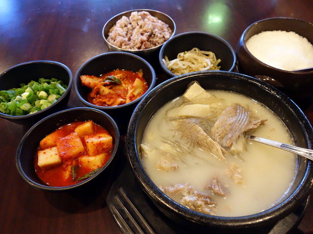 Seolleongtang and banchan at Traditional Korean BeefSoup.