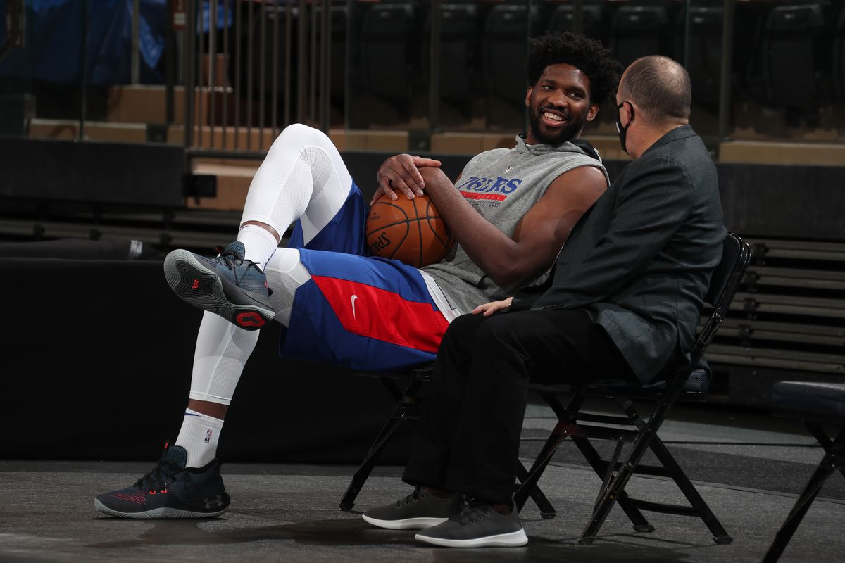 Joel Embiid of the Philadelphia 76ers smiles prior to a game against the New York Knicks on December 26, 2020 at Madison Square Garden in New York City, New York.