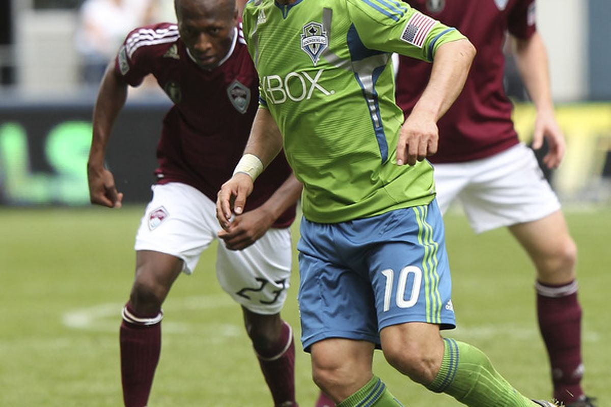 Just a few months ago, Mauro Rosales was considered washed up by professional soccer standards. Now, he's a surprising MVP candidate for the hottest team in MLS, the Seattle Sounders. (Photo by Otto Greule Jr/Getty Images)