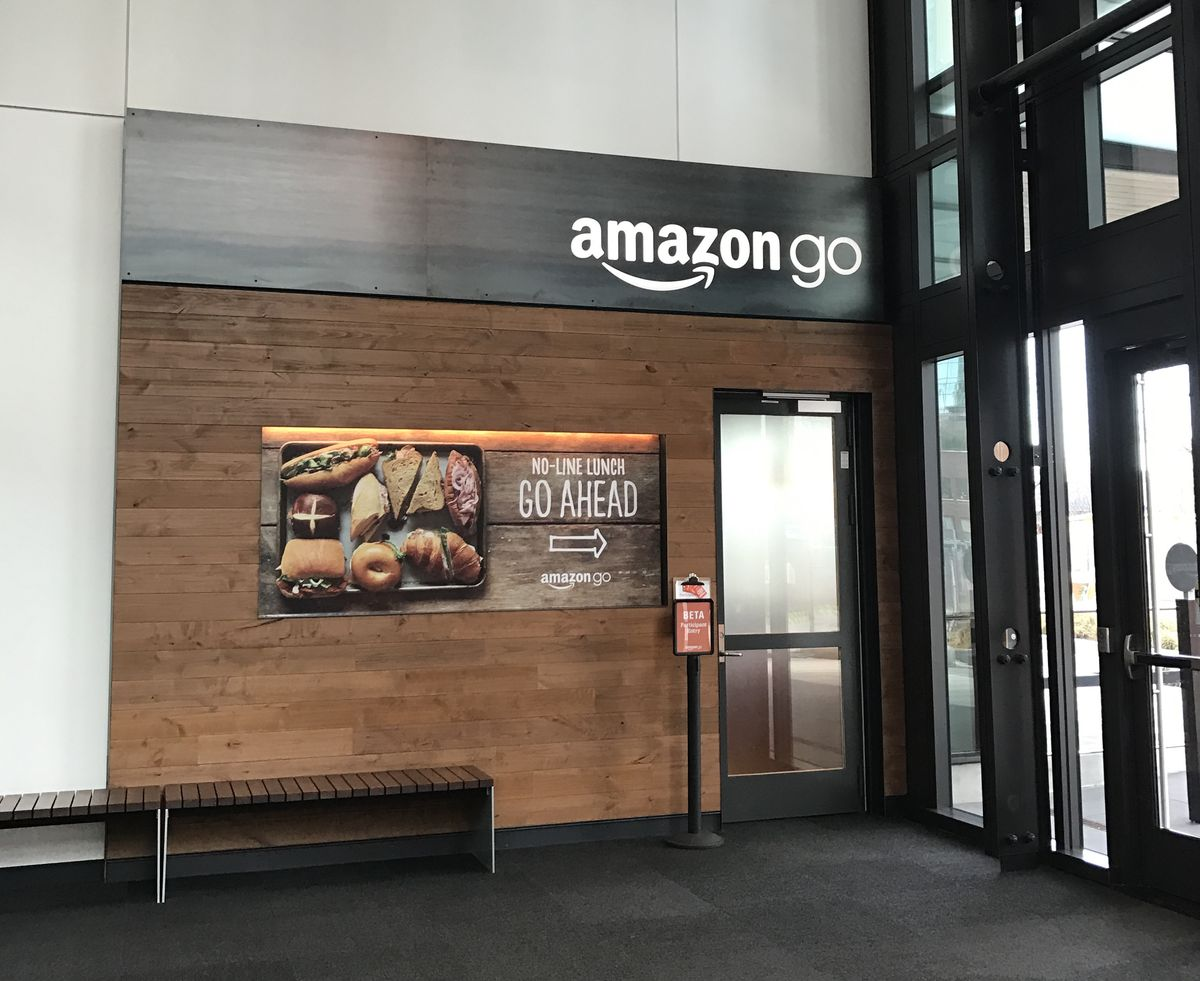 The entrance to the Amazon Go store in Seattle