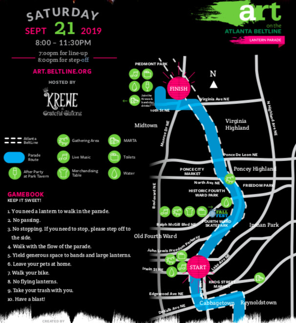 A flyer with pink and green directions showing how to enjoy the Beltline lantern parade.