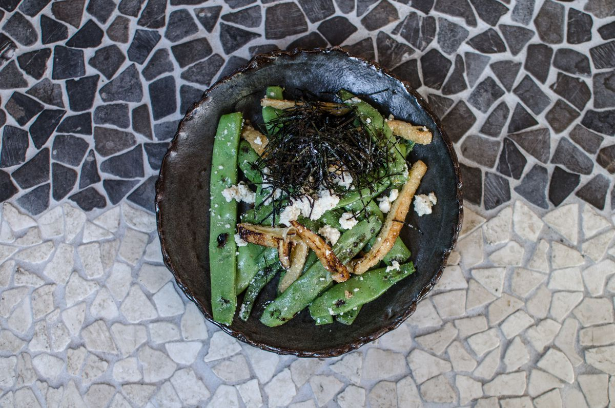 green beans with tofu, nori, and aged rice vinegar at Whaling in Oklahoma