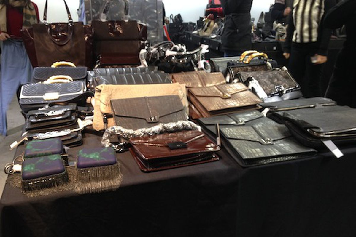 The purse table at the sale from just a few weeks ago