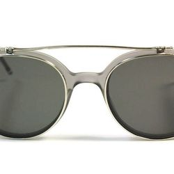 """<b>Thom Browne</b> Round Flippable Sunglasses in Satin Grey Crystal at <b>The Tannery</b>, <a href=""""http://curatedbythetannery.com/collections/thom-browne/products/round-flippable-sunglasses-in-satin-grey-crystal"""">$750</a>"""