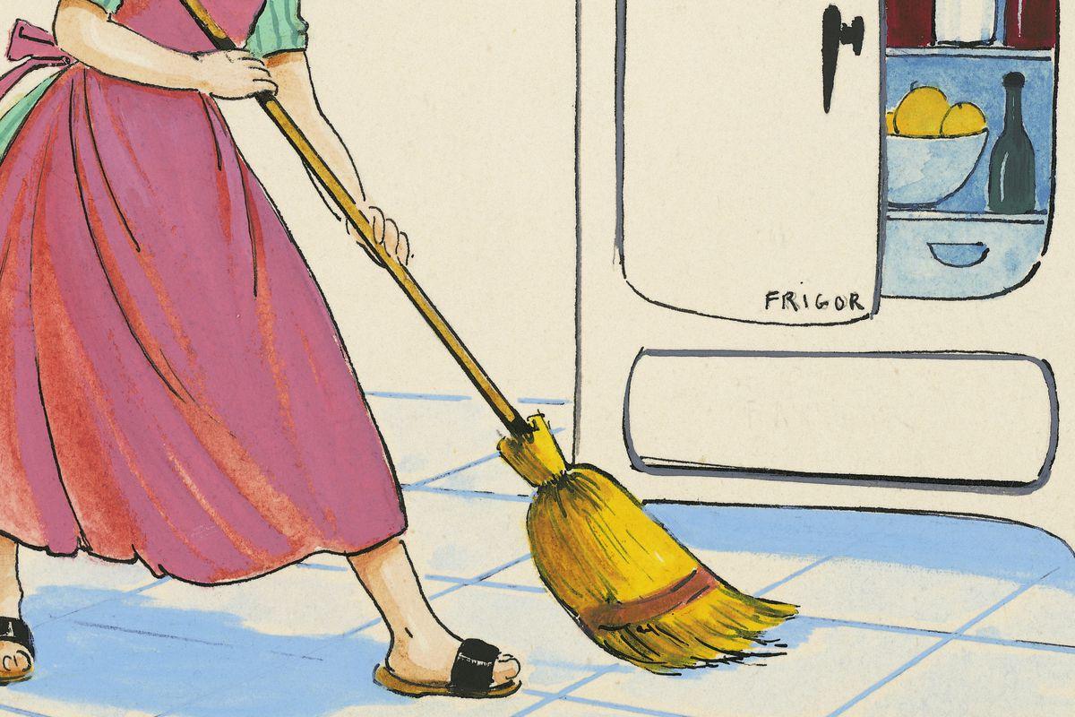 Little girl cleaning floor in front of 1950s fridge, children's illustration, drawing