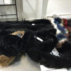 Fur scarves, $250