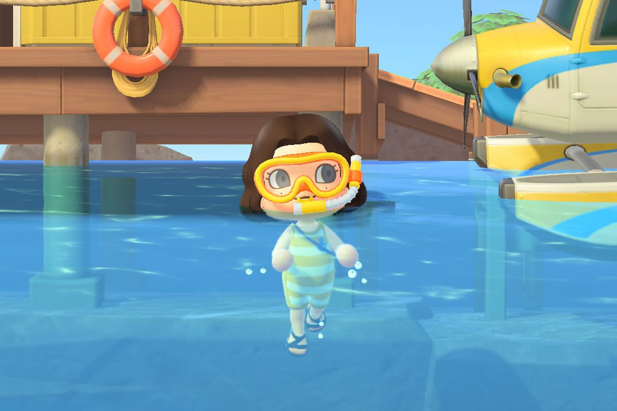 Animal Crossing avatar wearing yellow diving suit