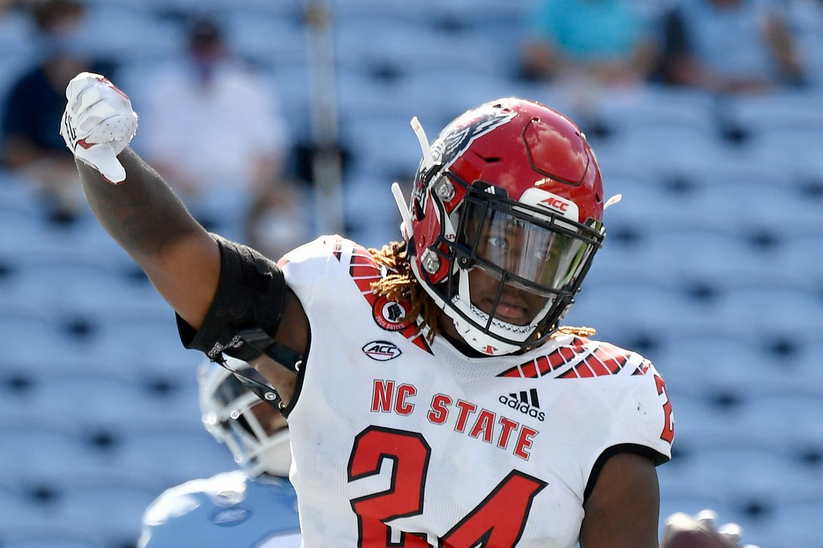 Malik Dunlap of the North Carolina State Wolfpack reacts after stopping Dyami Brown of the North Carolina Tar Heels short of the goal line during their game at Kenan Stadium on October 24, 2020 in Chapel Hill, North Carolina. The Tar Heels won 48-21.