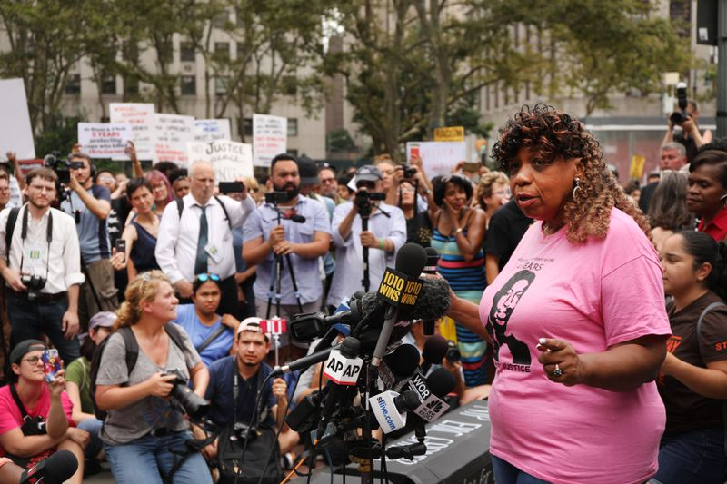 Eric Garner's mother, Gwen Carr, speaks to protesters on July 17, 2019.