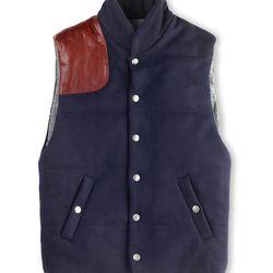 """<strong>Ernest Alexander</strong> Henry Wool Vest in Navy, <a href=""""http://www.ernestalexander.com/pages/visit-us/#soho"""">$355</a>"""