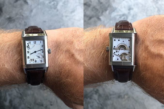 Jaeger-LeCoultre Reverso wristwatch on Timothy Hollingsworth's wrists