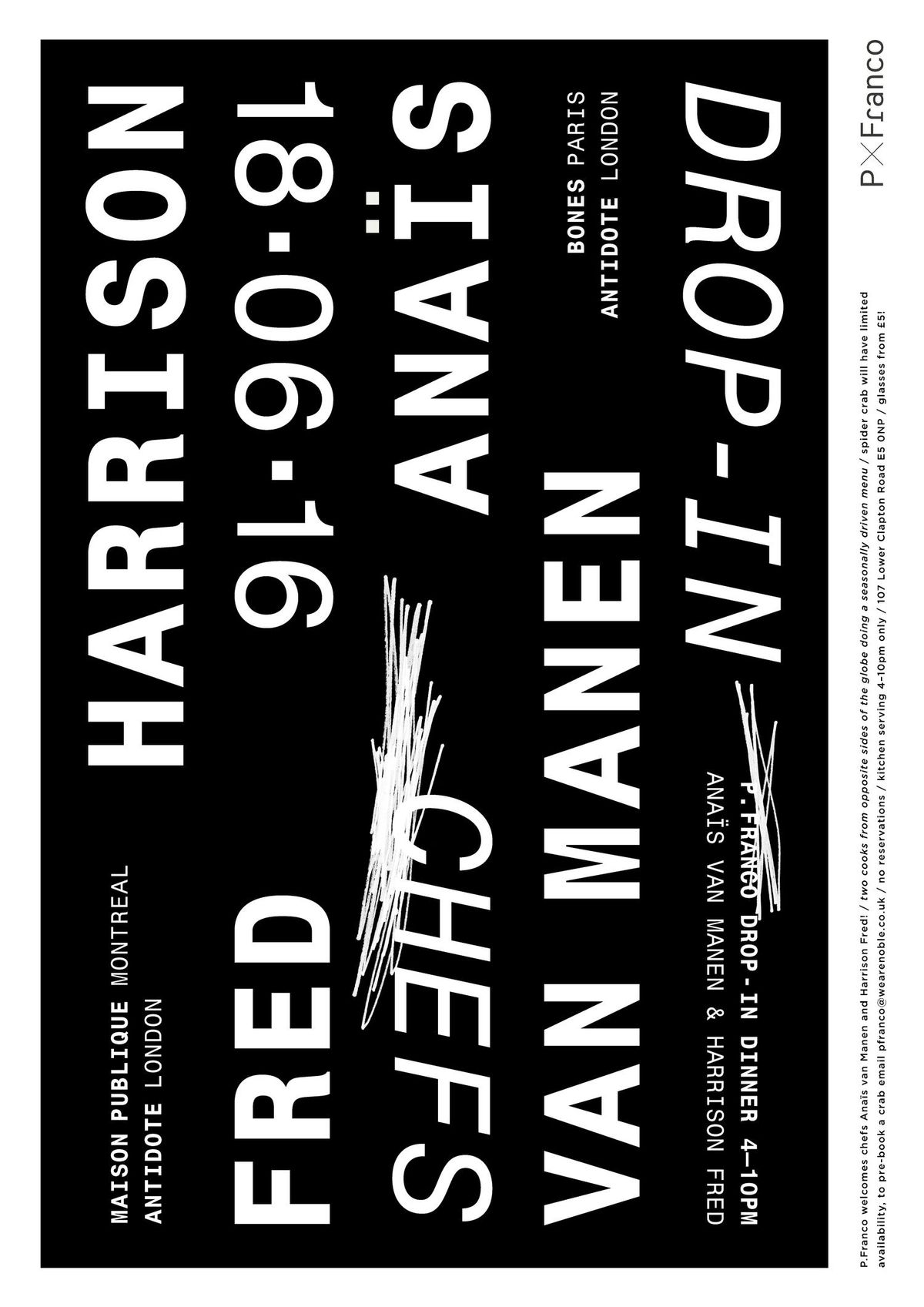 The best London restaurant merch to buy right now includes posters from P. Franco wine bar designed by Tegan Ella Hendel, including this black design with white text announcing a wine event with Australian winemaker Fred Harrison