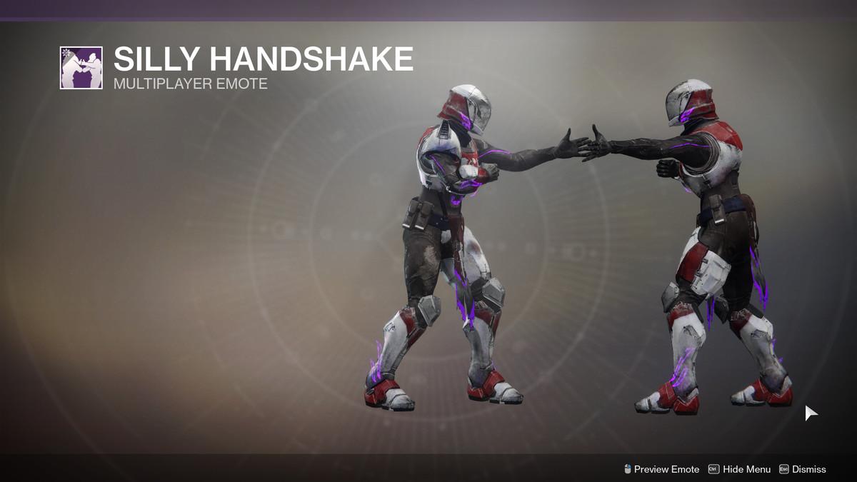 Silly Handshake multiplayer emote Destiny 2