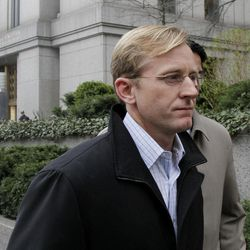 Joseph Skowron III, of Greenwich, Connecticut, leaves Federal Court, in New York,  Wednesday, April 13, 2011. The Ivy League-trained physician who became a health care investment analyst surrendered Wednesday on charges that accuse him of evading $30 million in losses for a hedge fund by obtaining confidential information from a French doctor about clinical liver disease drug trials.