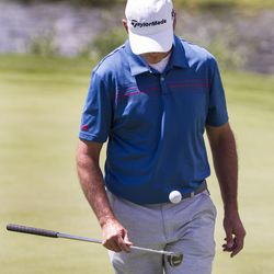 Chris Moody bounces his golf ball after finishing his putt at the No. 12 hole on the third day of the 78th Provo Open at East Bay Golf Course in Provo Saturday, June 10, 2017.