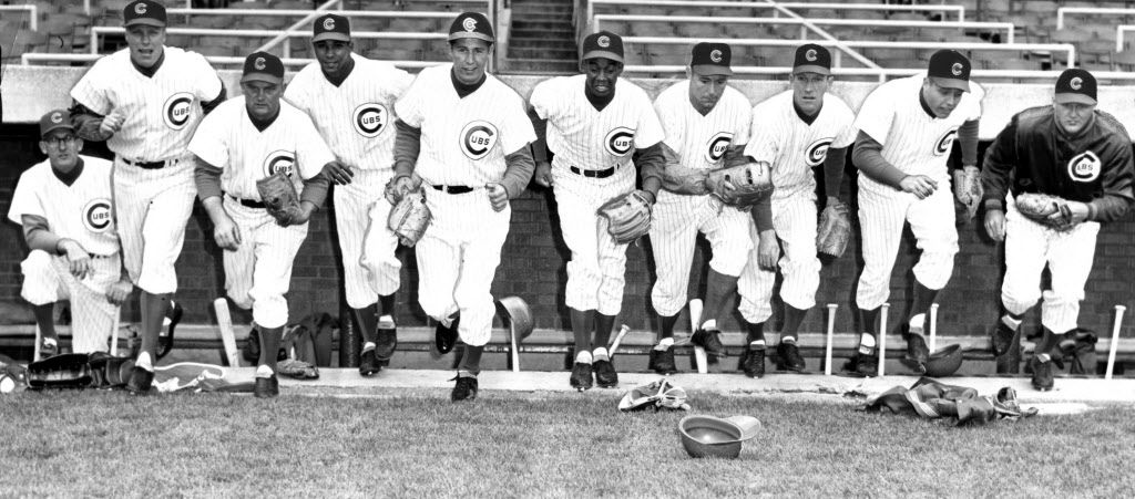 April 16, 1961, Cubs starting lineup #54 Vedie Himsl, mgr; #1 Richie Ashburn; #17 Don Zimmer: #26 Billy Williams; #10 Ron Santo; #14 Ernie Banks; #11 Ed Bouchee; #22 Al Heist; #6 Dick Bertell; #32 Bob Anderson   Sun-Times library