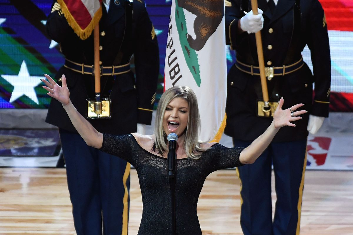 Fergie 'Butchers' National Anthem at NBA All-Star Game, Kneels to Laugh