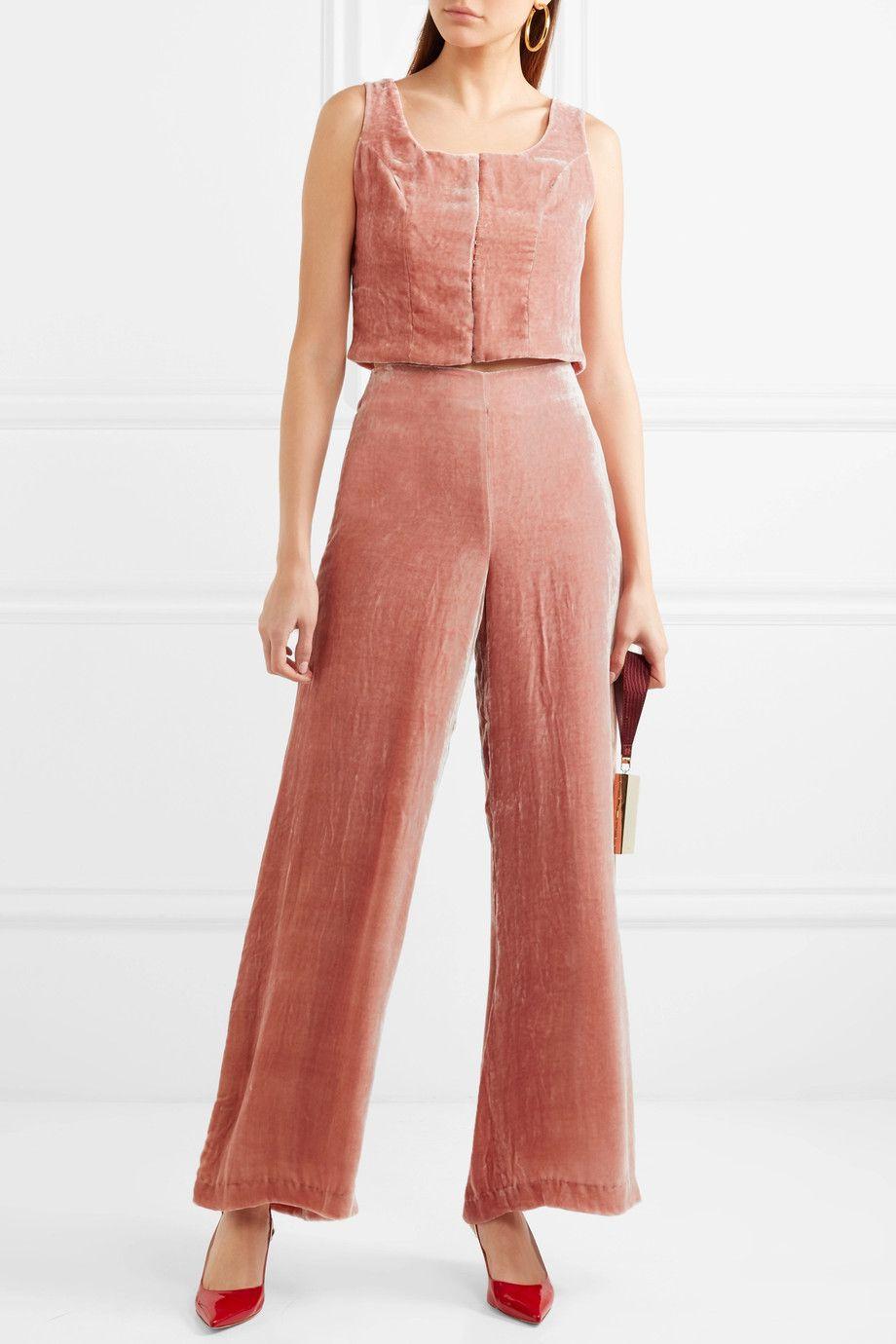 Staud crushed velvet pink pants
