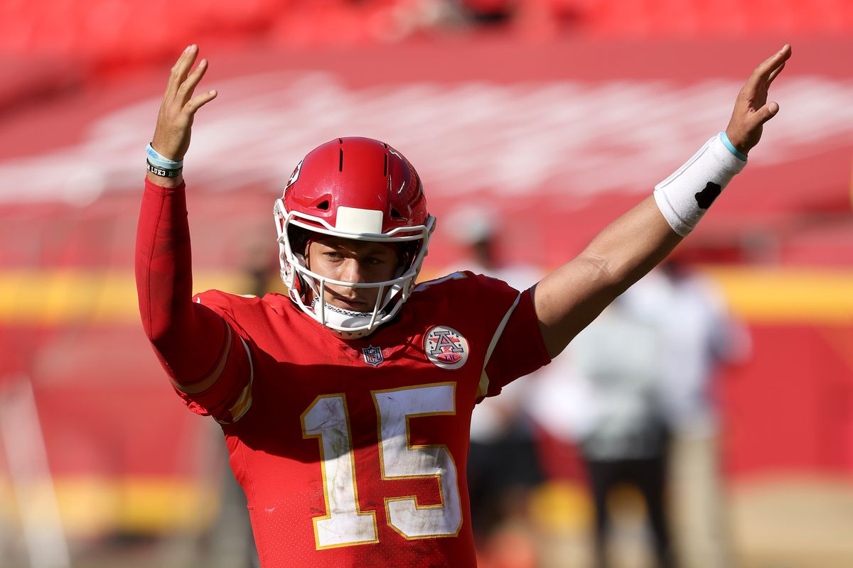 Patrick Mahomes of the Kansas City Chiefs celebrates a two point conversion pass against the Las Vegas Raiders during the fourth quarter at Arrowhead Stadium on October 11, 2020 in Kansas City, Missouri.