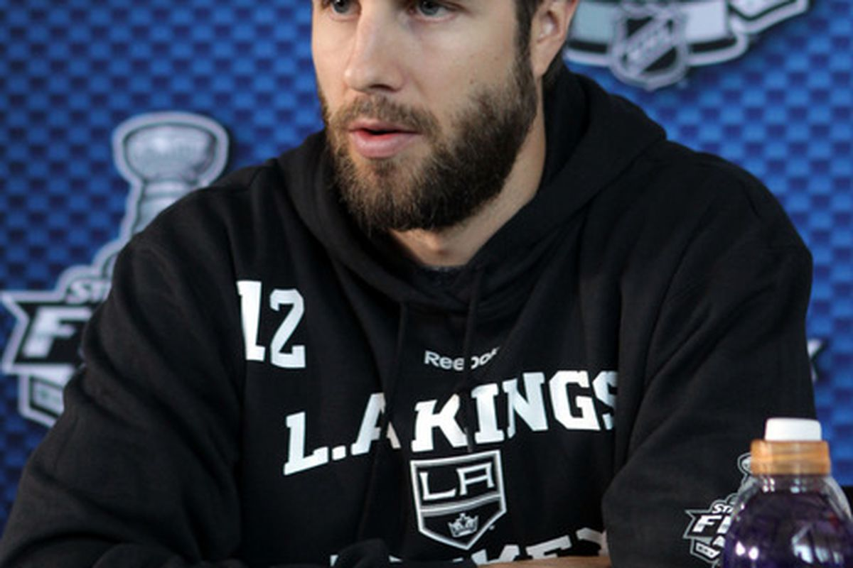 NEWARK, NJ - MAY 29:  Simon Gagne #12 of the Los Angeles Kings speaks during Media Day for the 2012 Stanley Cup Final at Prudential Center on May 29, 2012 in Newark, New Jersey.  (Photo by Bruce Bennett/Getty Images)