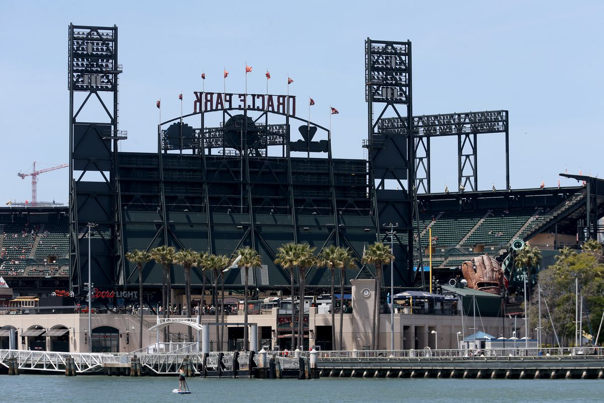 A view of Oracle Park from McCovey Cove during a day game