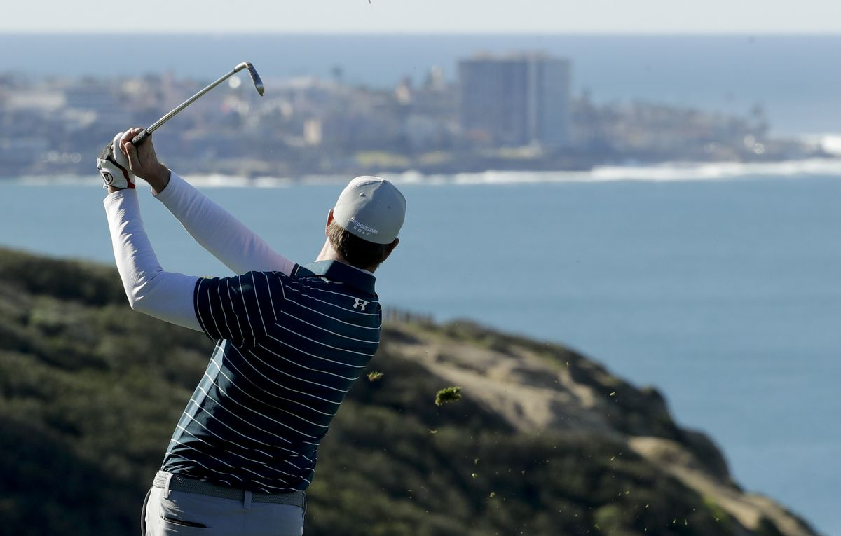 Professional golfer Hudson Swafford competes on the South Course at Torrey Pines in San Diego during the Farmers Insurance Open in January. | Chris Carlson/AP