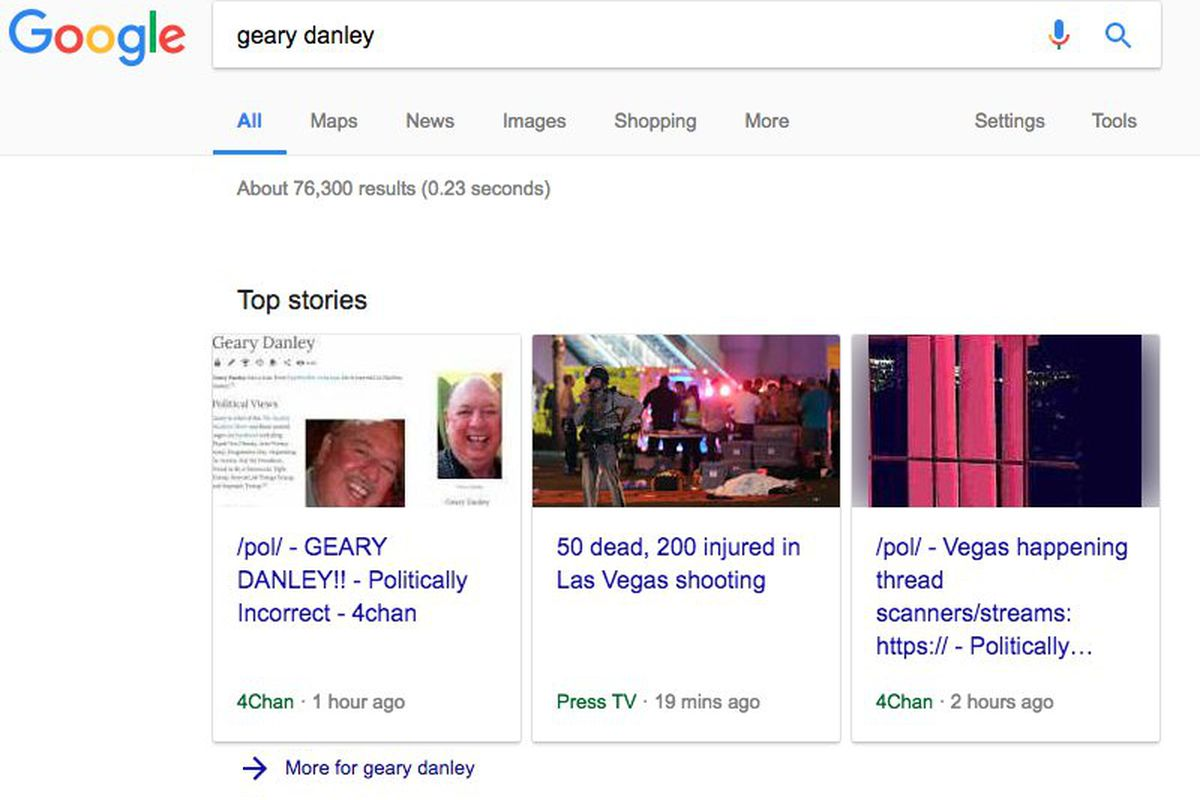 Google offers prayers for Las Vegas but keeps quiet on fake news
