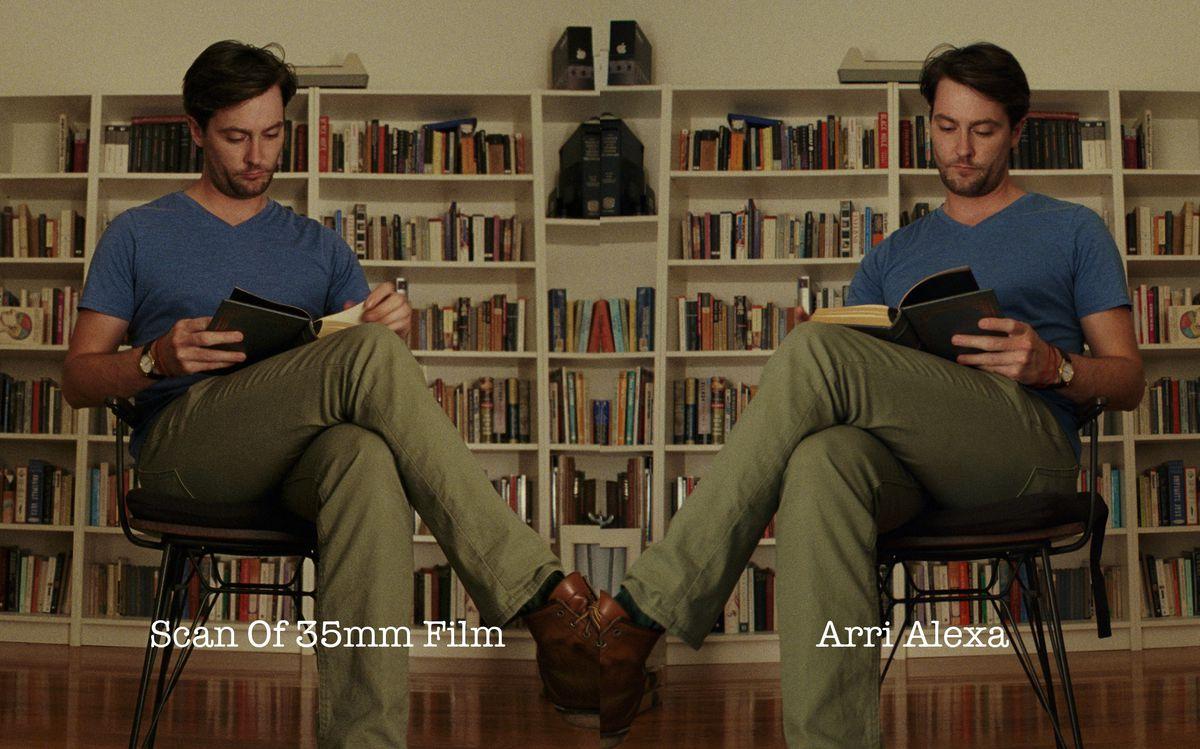 a man sits reading a book in Steve Yedlin's film vs digital comparison