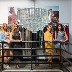 From left to right: Georgia the Dog, Hannah - operations sales assistant, Amber - founder and designer, Courtney - sales manager and Eleanor - marketing manager.