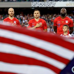 July 7, 2019 - Chicago, Illinois, United States - Team USA sings along to their national anthem before kickoff of the Gold Cup Final at Soldier Field.