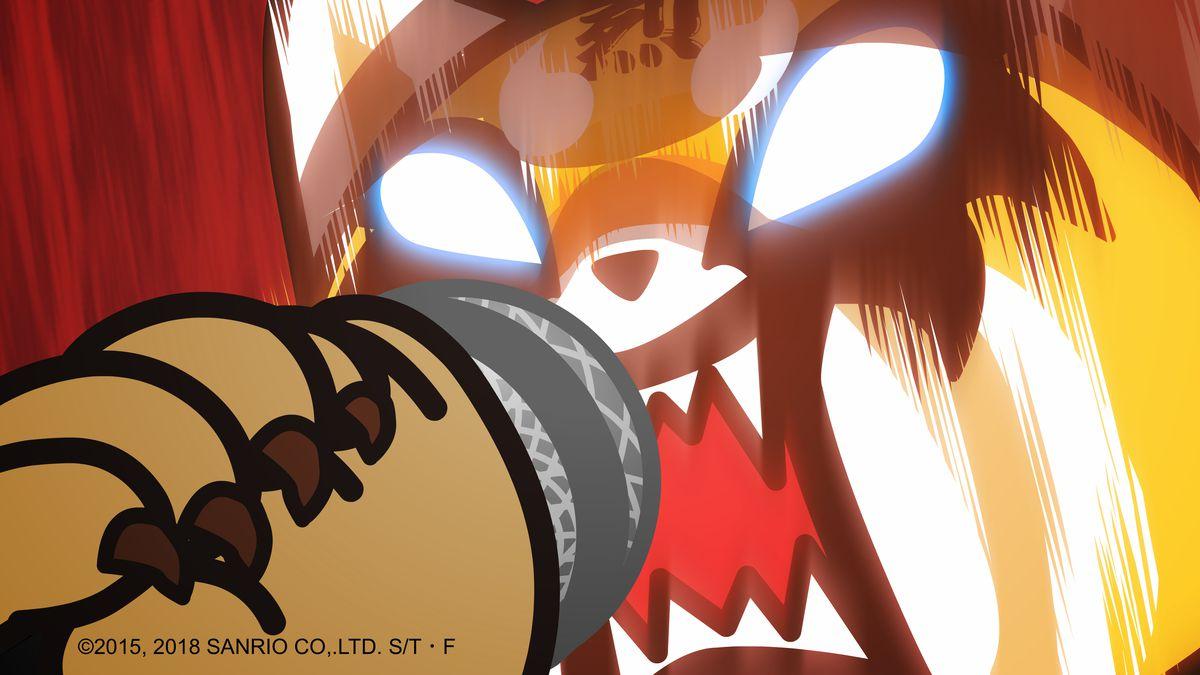 Aggretsuko - Retsuko screaming into a microphone