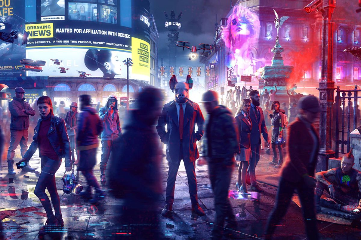 Artwork of a crowd shot from Watch Dogs Legion