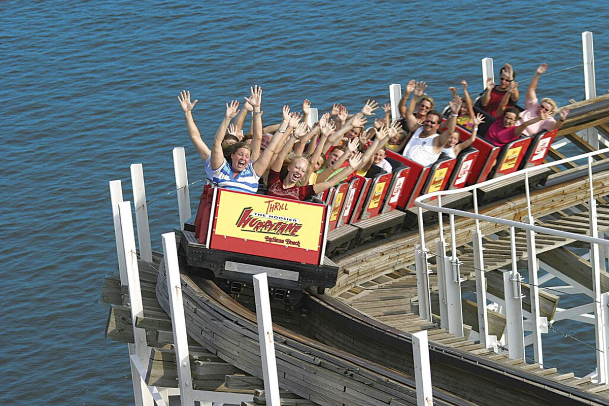 Hoosier Hurricane at Indiana Beach positioned above the water of Lake Shafer in Monticello, Ind.