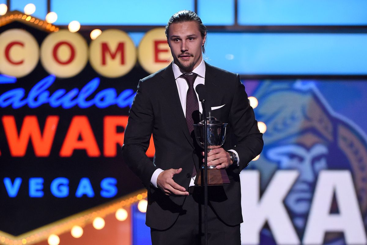 This photo didn't make the cut because this was Karlsson's second Norris trophy, and nobody remembers number two