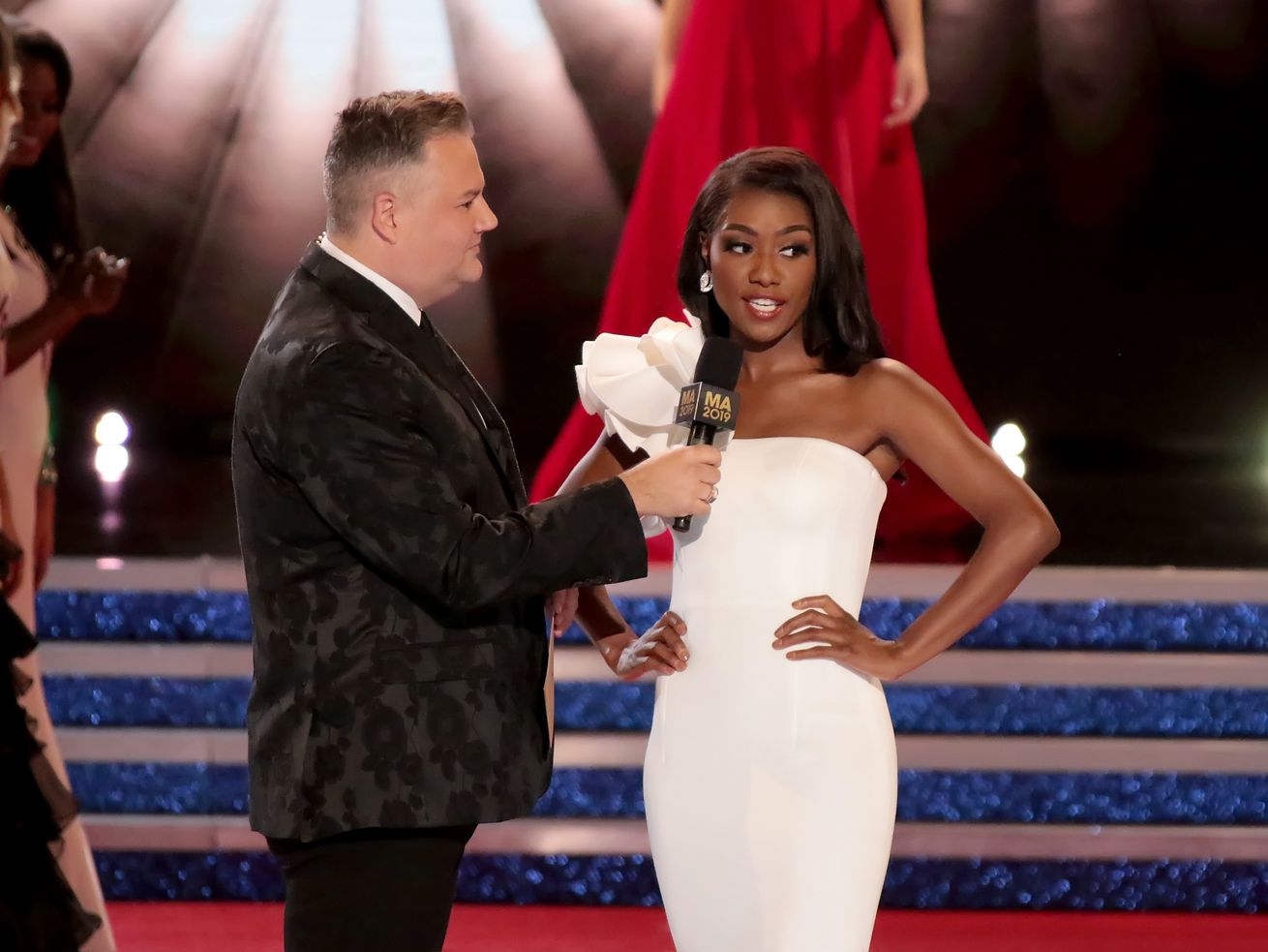 Ross Mathews with Nia Franklin, the eventual winner, during the Miss America 2019 finals.