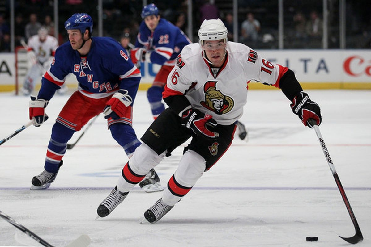 NEW YORK - OCTOBER 01:  Bobby Butler #16 of the Ottawa Senators controls the puck against the New York Rangers during their preseason game on October 1 2010 at Madison Square Garden in New York City.  (Photo by Chris McGrath/Getty Images)