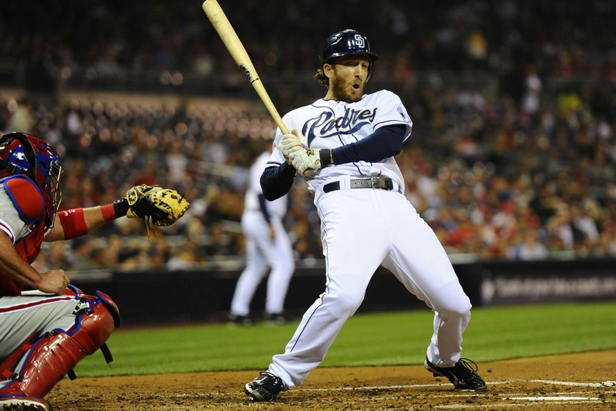 April 20, 2012; San Diego, CA, USA; San Diego Padres right fielder Chris Denorfia (13) against the Philadelphia Phillies at Petco Park. Mandatory Credit: Christopher Hanewinckel-US PRESSWIRE
