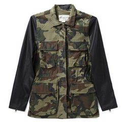 """<strong>Obey</strong> Hartman Camo Contrast Jacket, <a href=""""http://www.azaleasf.com/#view=details&item=OBYWJKT221800012CAMOBLK&search=*category/outerwear/*gender/women*&currIndex=0&pageSize=60&currSort=score&sortDirection=desc"""">$130</a> at Azalea"""