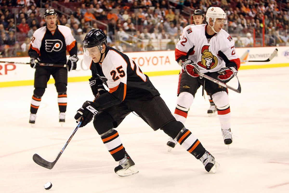 Matt Carle was acquired from the Tampa Bay Lightning, along with a third-round pick, in exchange for Steve Eminger, Steve Downie, and a fourth-round pick.
