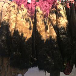 Faux fur coat, $124.50 (was $498)