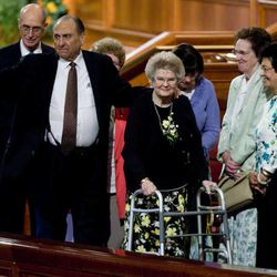 President Thomas S. Monson and his wife, Frances Beverly Monson, at the Conference Center of The Church of Jesus Christ of Latter-day Saints in Salt Lake City, Utah, on Saturday, Sept., 25, 2010.