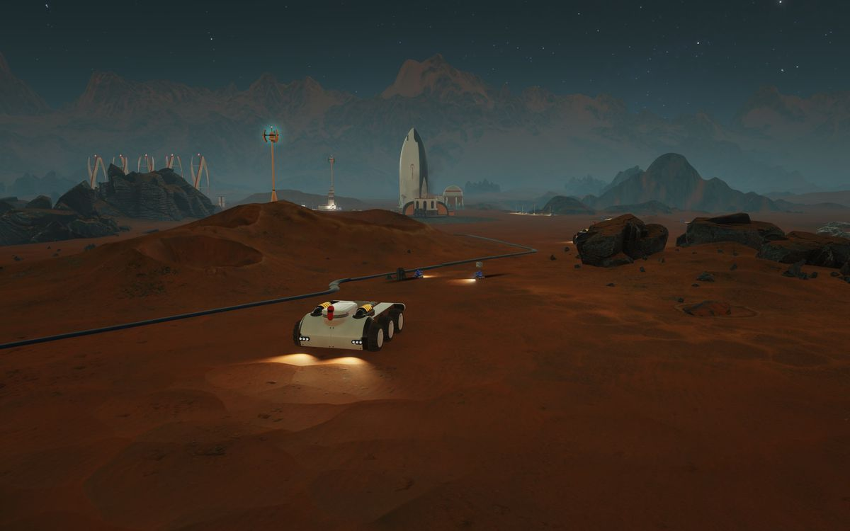 Surviving Mars - rover driving at night