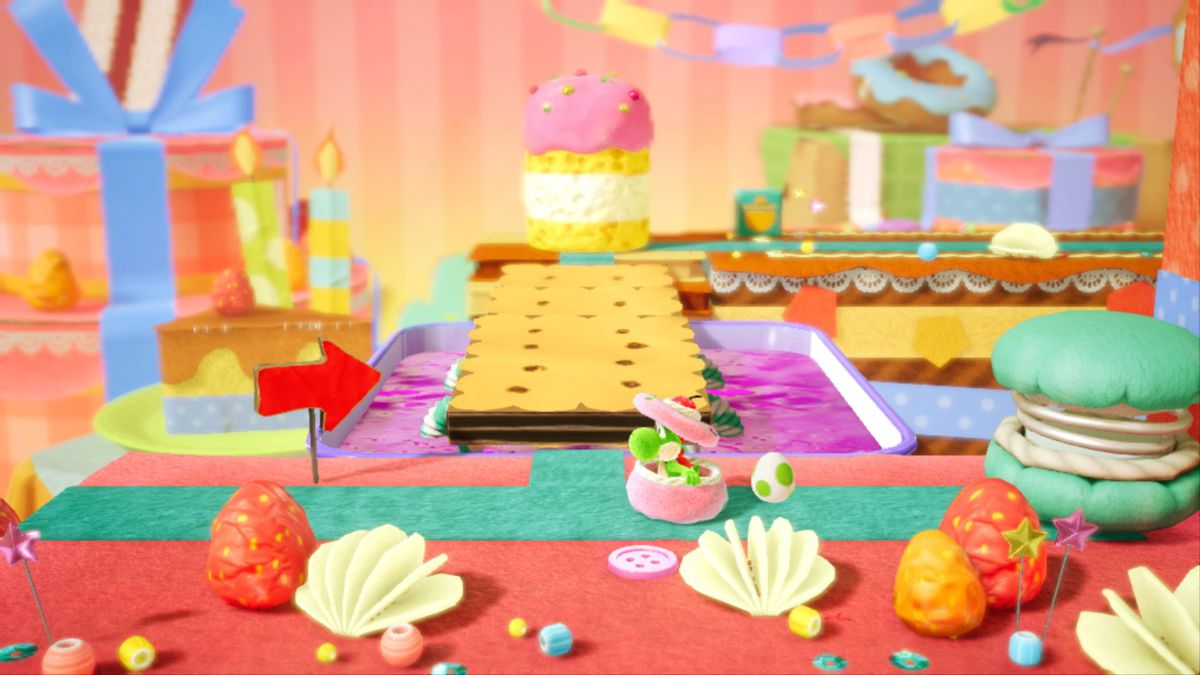 A Yoshi hiding in Yoshi's Crafted World