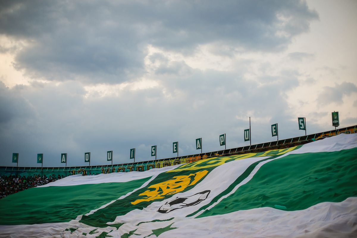 A giant flag of Leon is seen during the final second leg match between Leon and Tigres UANL as part of the Torneo Clausura 2019 Liga MX at Leon Stadium on May 26, 2019 in Leon, Mexico.